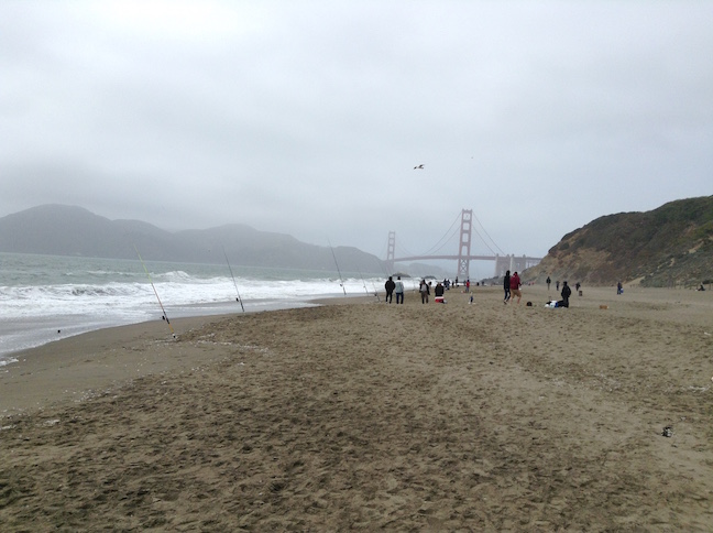 fishing poles at baker beach