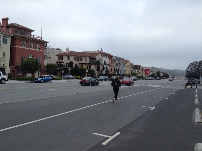 jogger near Marina Blvd and Broderick St
