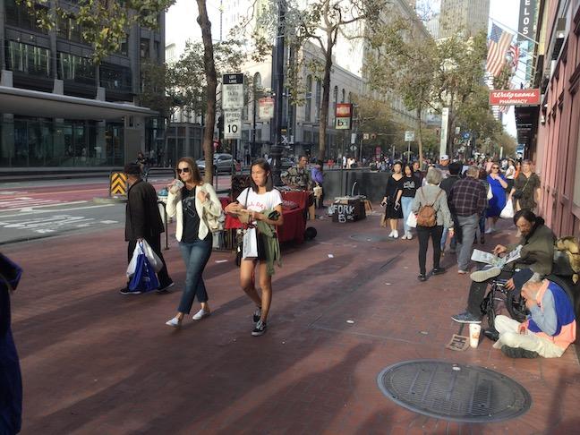 market street two women walking