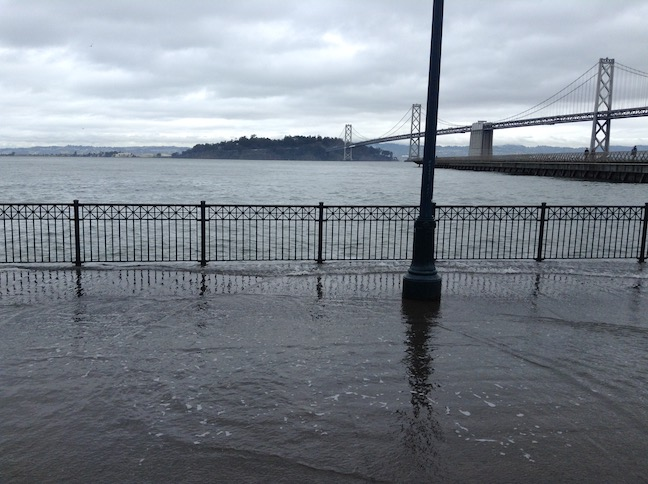 king tide san francisco, light pole flooded