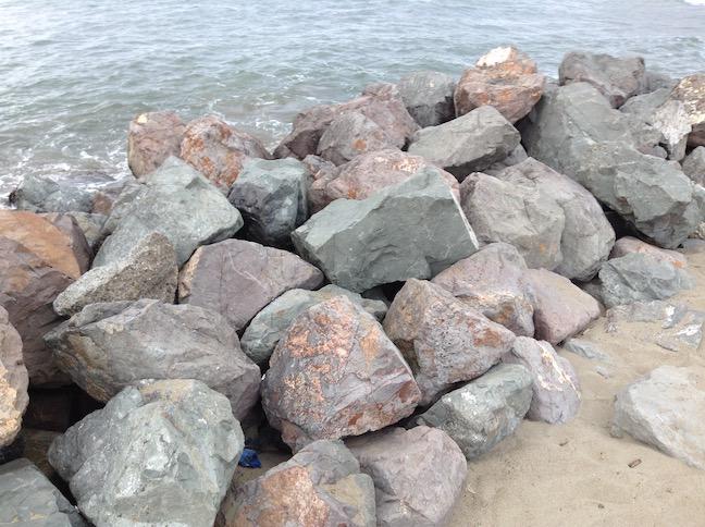 seawall rocks