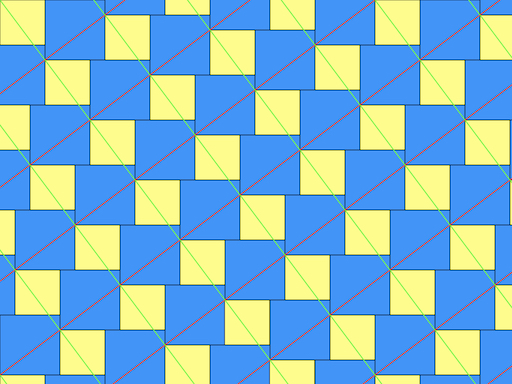 tessellation with red and green diagonals